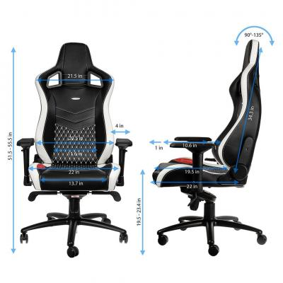 Ghế noblechairs EPIC – REAL LEATHER – BLACK / WHITE / RED